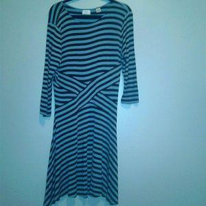 ECI light blue dress with dark blue stripes sz.XL